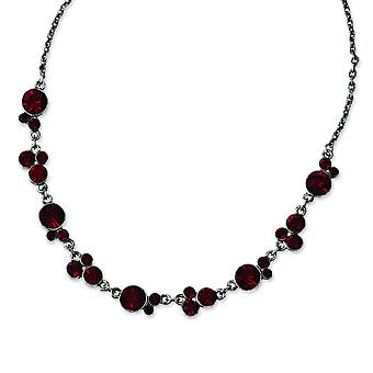Black-verguld Red Crystal 16 inch met 3 inch Ext ketting