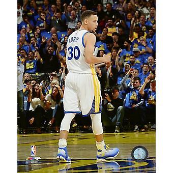 Stephen Curry tijdens de Golden State Warriors NBA opnemen 73e overwinning van het seizoen-April 13 2016 Photo Print