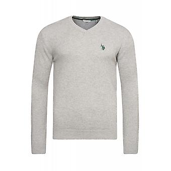 U.S. POLO ASSN. V neck sweater men's sweater grey 51894 280