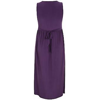 PRASLIN Purple Slinky Wrap Front Maxi Dress