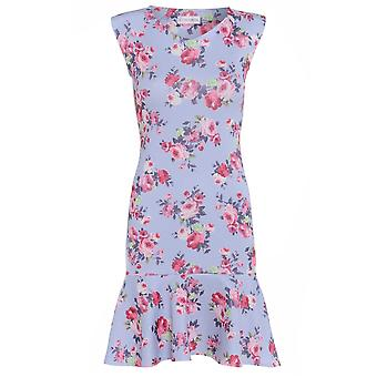 Love2Dress lila bloemen potlood jurk met peplos Hem UK SIZE 10