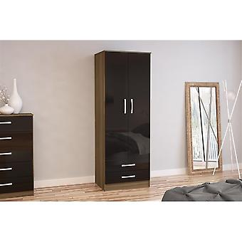 Birlea Lynx 2 Door Combi Robe Walnut & Black