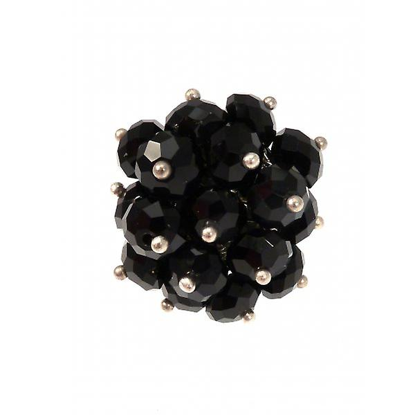 W.A.T Black Crystal Bead Cluster Ring