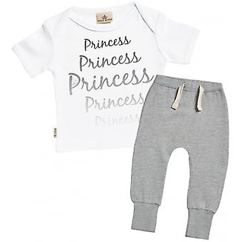 Verwöhnte faule Prinzessin Print T-Shirt & Jogger-Outfit-Set