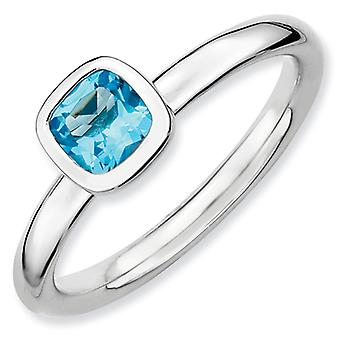Sterling Silver Bezel Polished Rhodium-plated Stackable Expressions Cushion Cut Blue Topaz Ring - Ring Size: 5 to 10