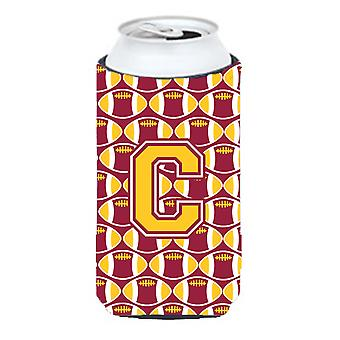 Letter C Football Maroon and Gold Tall Boy Beverage Insulator Hugger