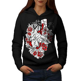 Girl Flower Power Women BlackHoodie | Wellcoda