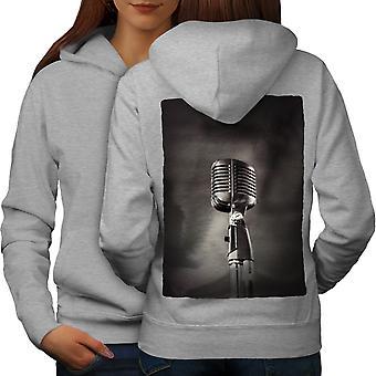 Micrófono clásico mujeres GreyHoodie respaldo | Wellcoda