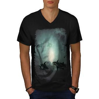 Mystic Ocean Fish Men BlackV-Neck T-shirt | Wellcoda