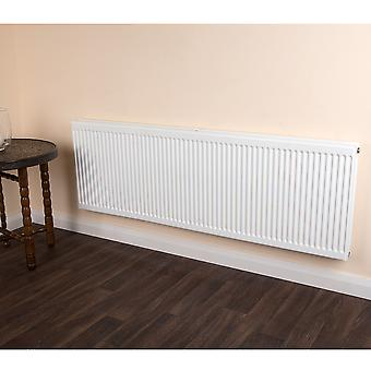 Round Top 2 Tap Convector Radiator - Double Panel - Type 22 - White -H500xW400mm