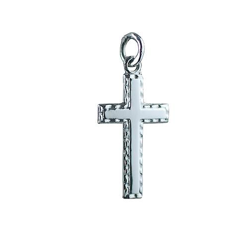 9ct White Gold 25x25mm plain with embossed border Cross