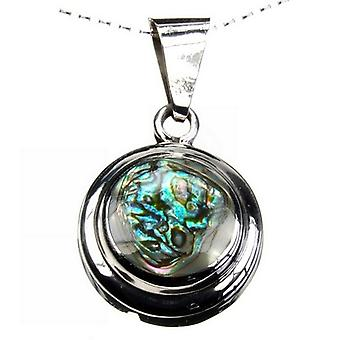 Double Disc Abalone Silver Pendant