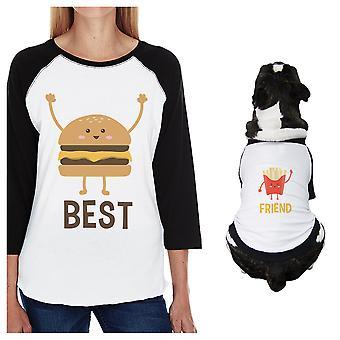 الكلب الصغيرة الهامبرغر والبطاطا المقلية وأمي مطابقة ملابس المحملات الرغلا ن معطف