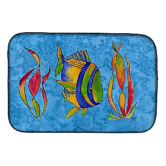 Carolines Treasures  8713DDM Troical Fish and Seaweed on Blue Dish Drying Mat