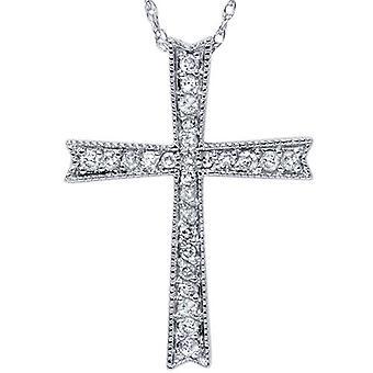 1 / 4ct Diamant Kreuz 14K White Gold