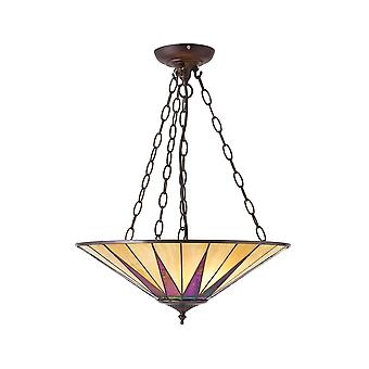 Interiors 1900 Dark Star 3 Light Large Inverted Ceiling Pendant