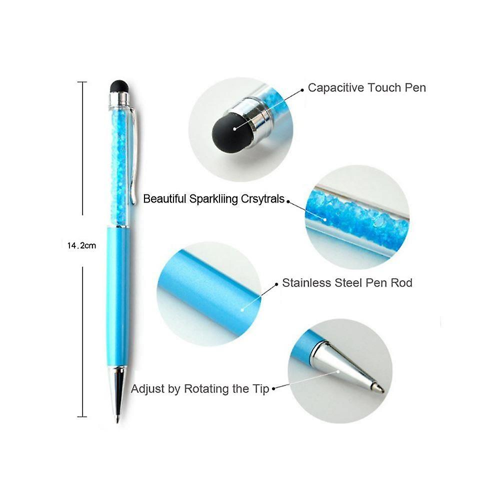 Cystal Pink Ball Point Gift Pen Made With Real Crystal Elements And Stylus