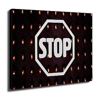 Stop Road Sign Mode Wand Kunst Leinwand 50 x 30 cm | Wellcoda