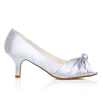 PARIS Silver Satin Kitten Medium Heel Bridal Peeptoe Shoes