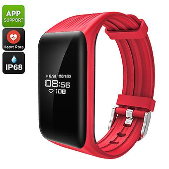 Fitness Tracker Bracelet - Pedometer, Heart Rate, Distance Tracker, Calorie Counter, Call Reminder, IP68, Gesture Wake (Red)