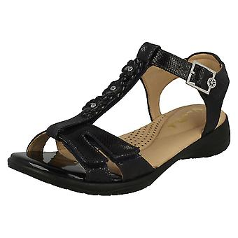 Ladies Van Dal Strappy Sandals Soft - Midnight Reptile Prt Leather - UK Size 5E - EU Size 38 - US Size 7