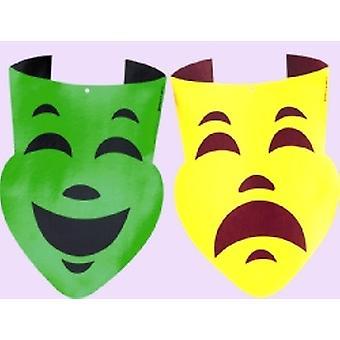 Mardi Gras comedia y tragedia grandes recortes oro y verde 2 pk
