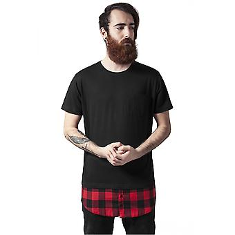 Urban classics T-Shirt long shaped flannel bottom Pocket tee