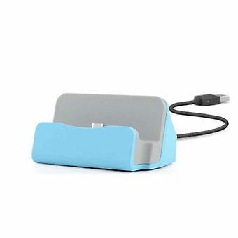 Vugge sync lader dokkingstasjon Ladestativ for micro USB smarttelefoner blå
