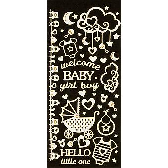 Dazzles Stickers-New Baby, White & Gold Foil