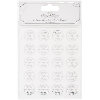 Craft Consortium Always & Forever Envelope Seal Stickers-With Love 25Mm Acetate & Silver, 40/Pkg