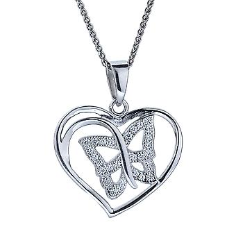 Orphelia Silver 925 Pendant With Chain Heart/Butterfly Zirconium  ZH-4878