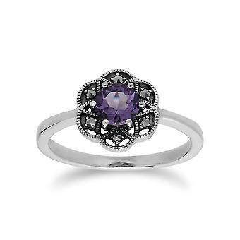 Gemondo Sterling Silver Amethyst & Marcasite Floral Ring