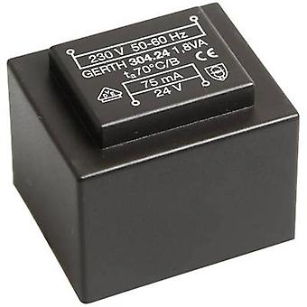 PCB mount transformer 1 x 230 V 2 x 15 V AC 1.80 VA 60 mA
