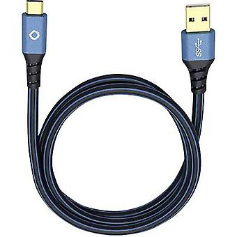 Câble USB 3.1 [1 x USB 3.0 connecteur A - 1 x USB-C fiche] 0,5 m bleu plaqué or connecteurs Oehlbach USB Plus C3