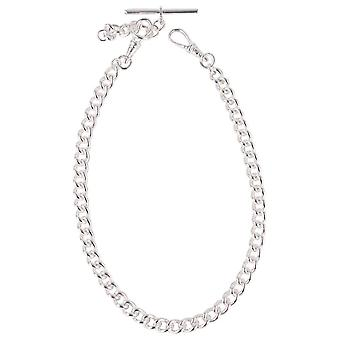 David Van Hagen Silver Plated Albert Large Curb Chain Double Clasp - Silver