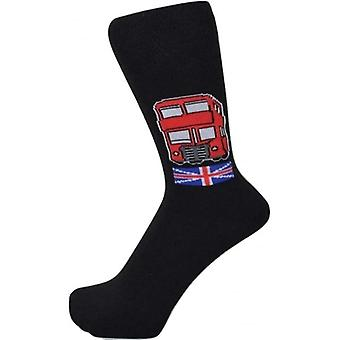 Union Jack Wear London Red Bus Design Men's Socks