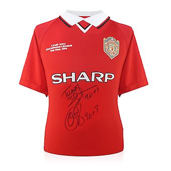 Teddy Sheringham & Ole Gunnar Solskjaer Signed Manchester United Shirt With Goal Times
