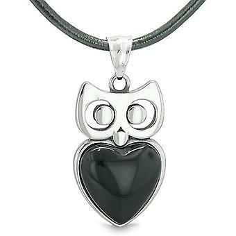 Amulet ugle søde hjerte heldige charme positiv energi Faux sort Onyx vedhæng på læder halskæde