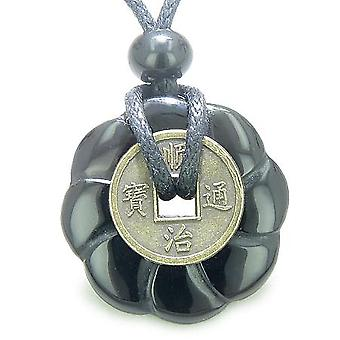 Antique Lucky Coin Celtic Lotus Flower Gem Amulet Spiritual Protection Onyx 30mm Donut Necklace