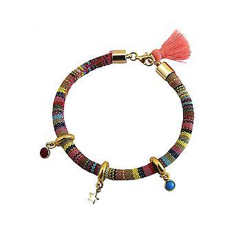 Women - armband - 925 zilveren vergulde - AZTEEKSE - STAR - Star - Ruby - rood - turkoois