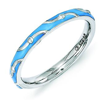 2.5mm Sterling Silver Polished Patterned Rhodium-plated Stackable Expressions Blue Enamel Ring - Ring Size: 5 to 10