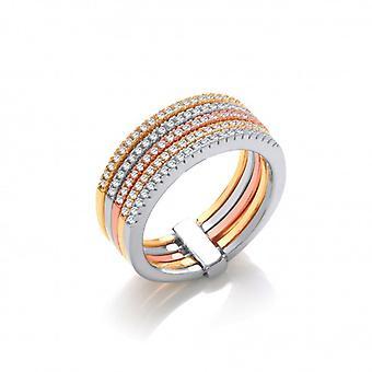 Cavendish francés anillo de la venda de oro, plata, rosa y amarillo
