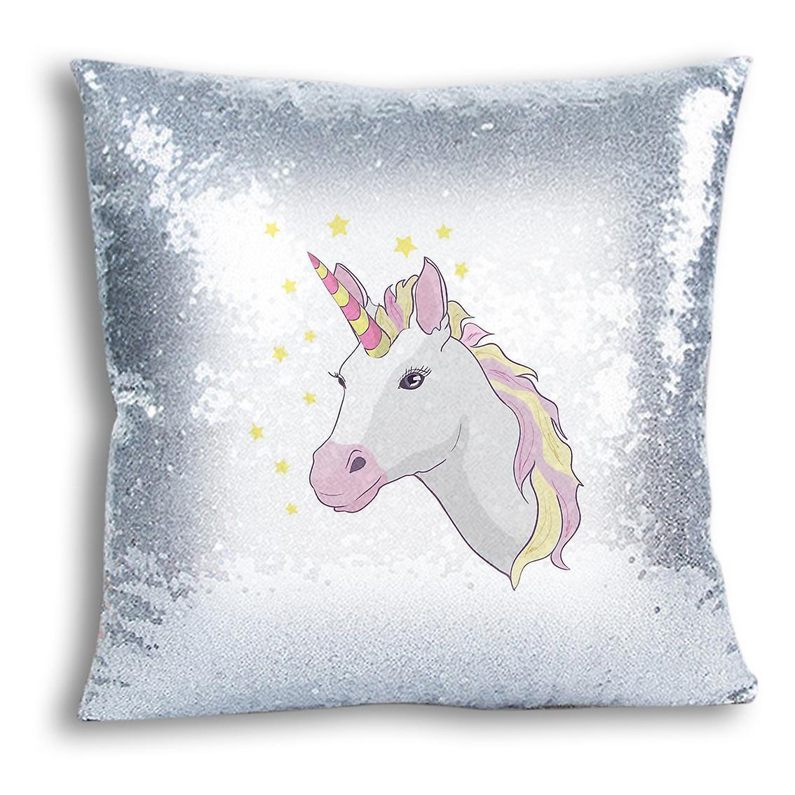 For Sequin Decor I Inserted tronixsUnicorn 6 Silver Design Cover Home Printed CushionPillow With LUqVzGSMp