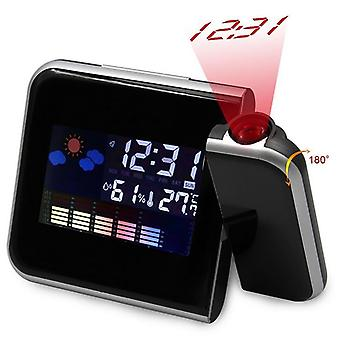 Black Square Projection Digital LCD Display Snooze Alarm Clock Projector Color Display LED Backlight Digital Alarm Clock TSLM1