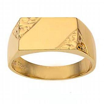 9ct Gold 8x13mm gents engraved rectangular Signet Ring Size R