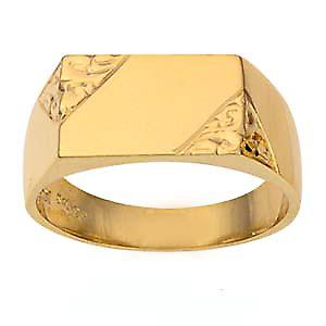 9ct Gold 8x13mm gents engraved rectangular Signet Ring Size W