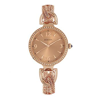 Bertha Sarah kedjelänk Watch w/hängande Charm - Rose Gold