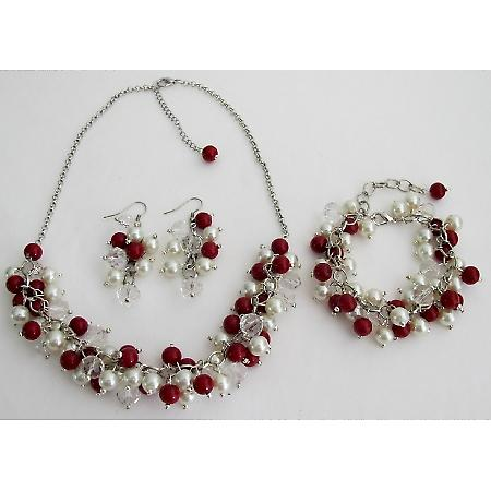 Red Ivory Cluster Necklace Earrings Bracelet Wedding Christmas Gift Complete Jewelry