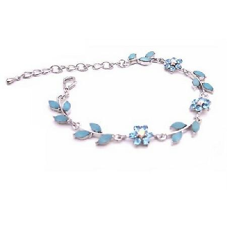 Stylish Aquamarine Blue Enamel Flower Leaves Silver Metal Bracelet