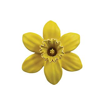 Eternal Collection Daffodil With Trumpet Yellow Enamel Gold Tone Midi Brooch